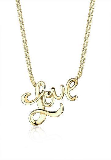 Elli Kette mit Anhänger »Love-Schriftzug 375 Gelbgold«