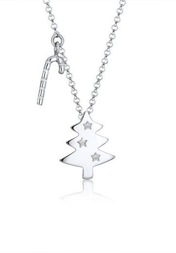 Elli Collierkettchen »Tannenbaum Zuckerstange Weihnachten 925 Silber«