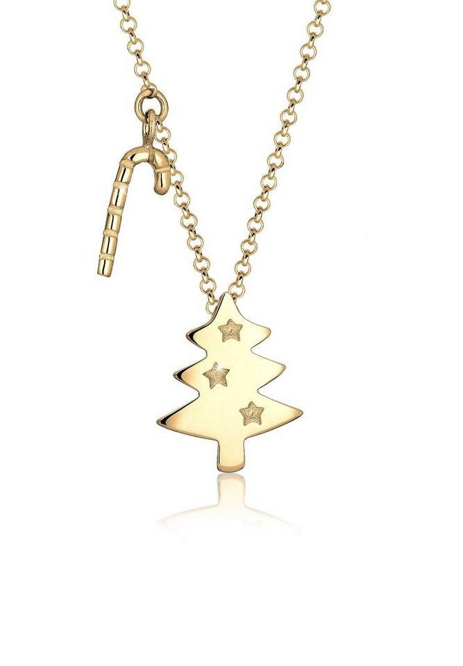 Elli Collierkettchen »Tannenbaum Zuckerstange Weihnachten 925 Silber ...