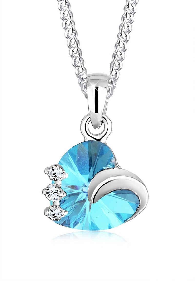 Elli Collierkettchen »Herz Kristalle 925 Silber Tesoro«