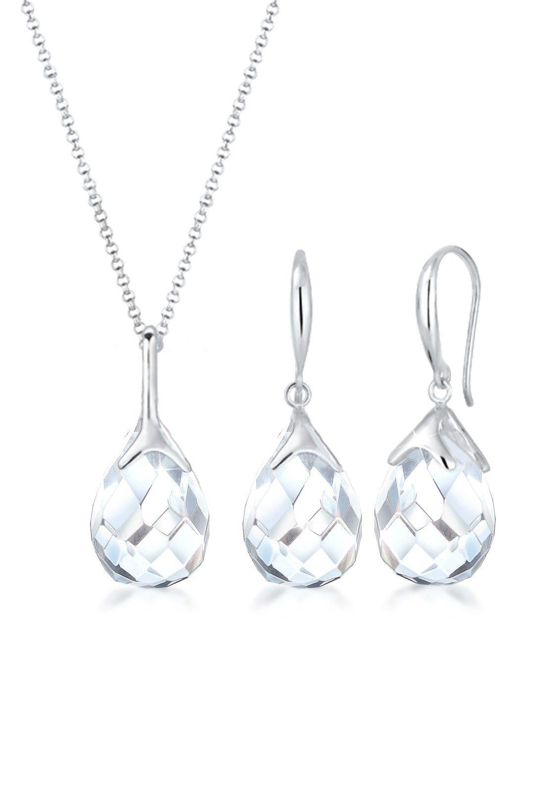 Elli Ohrring und Ketten Set »Set: Tropfen Bergkristall Klassik 925 Sterling Silber« (Set, 2 tlg)