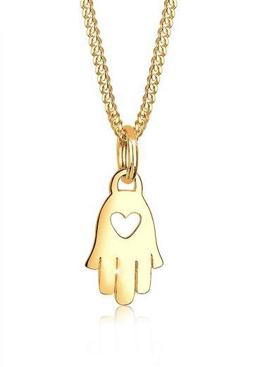 Elli Kette mit Anhänger »Hand der Fatima Herz Symbol Talisman 585 Gelbgold«