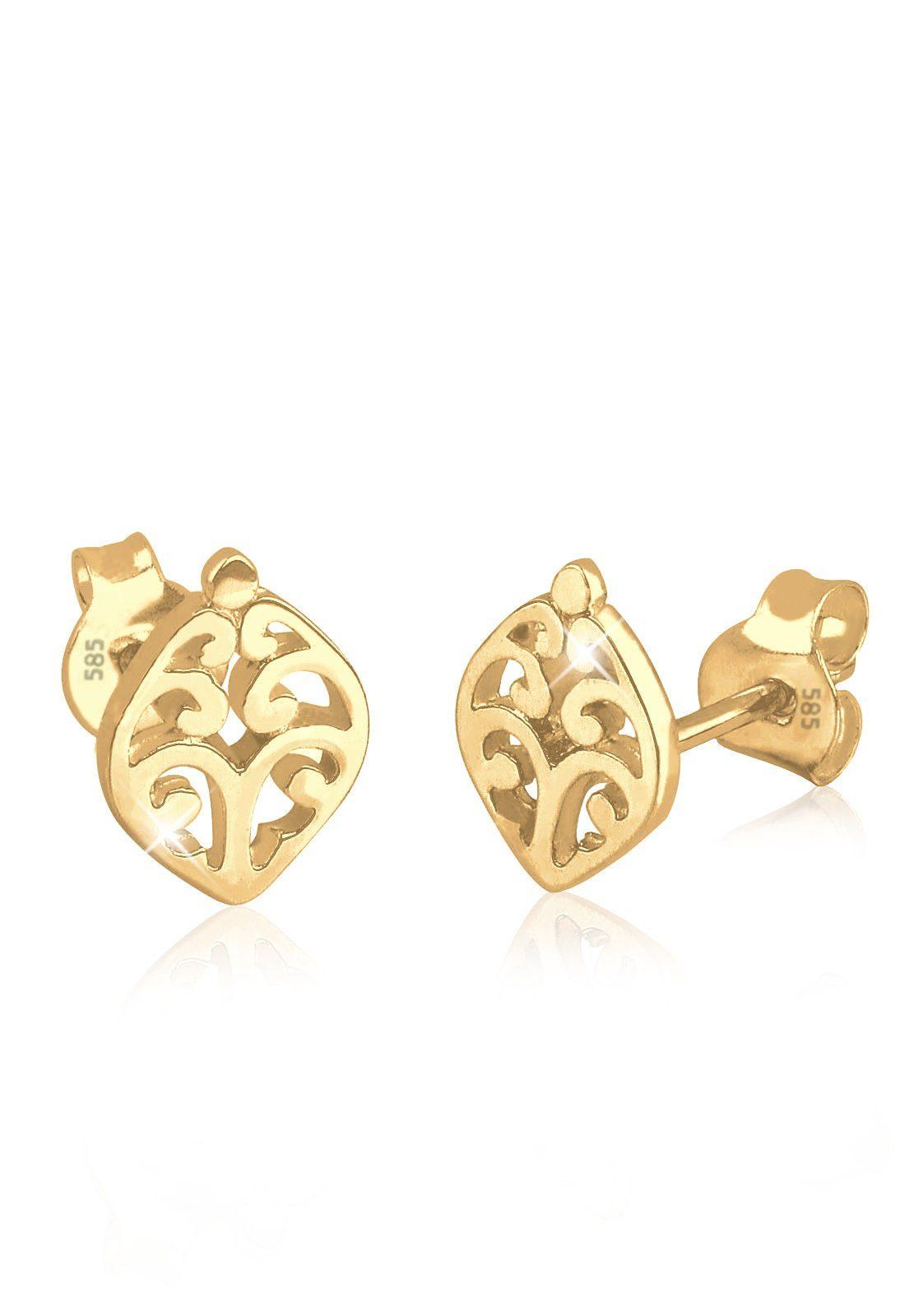 Elli Paar Ohrstecker »Ornament Filigran Hochwertig Floral 585 Gelbgold«
