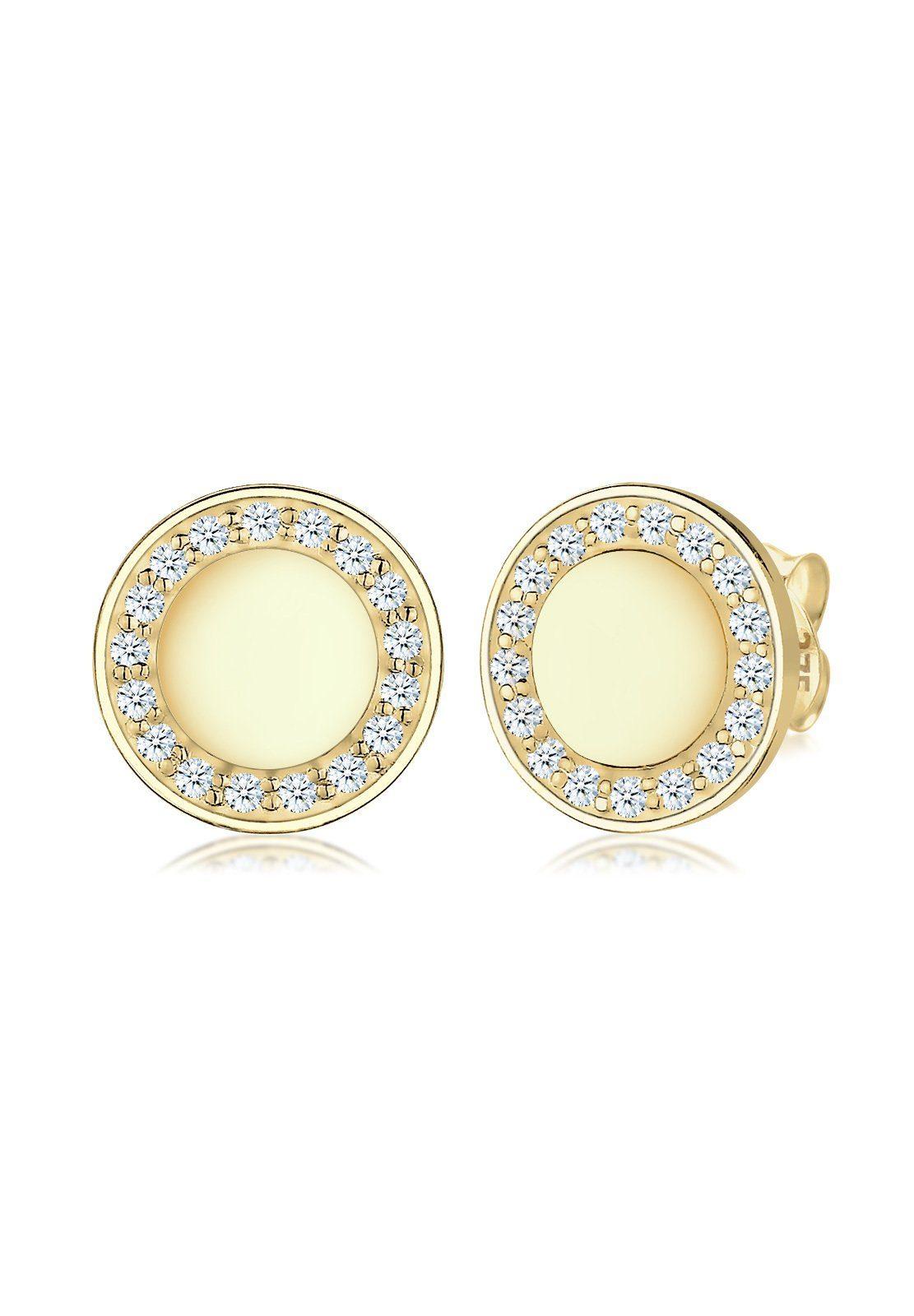 Elli Paar Ohrstecker »Kreis Elegant Klassisch Diamant 375 Gelbgold«