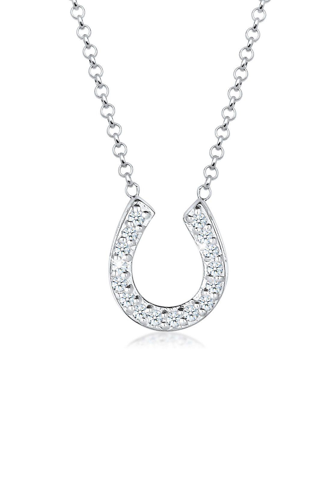 Elli Halskette »Diamant Hufeisen 925 Silber«