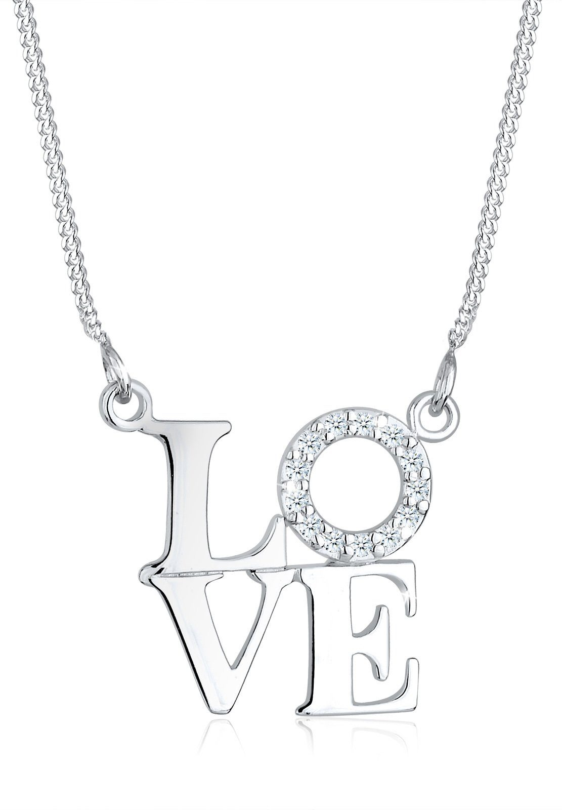 Diamore Collierkettchen »Love Wording Diamant (0.13 ct) 925 Sterling Silber«