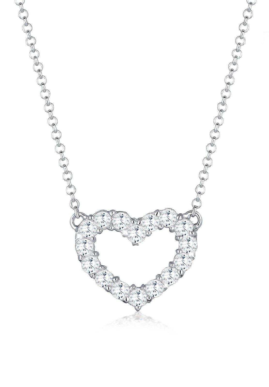 Elli Collierkettchen »Herz Zirkonia Kristall 925 Sterling Silber«