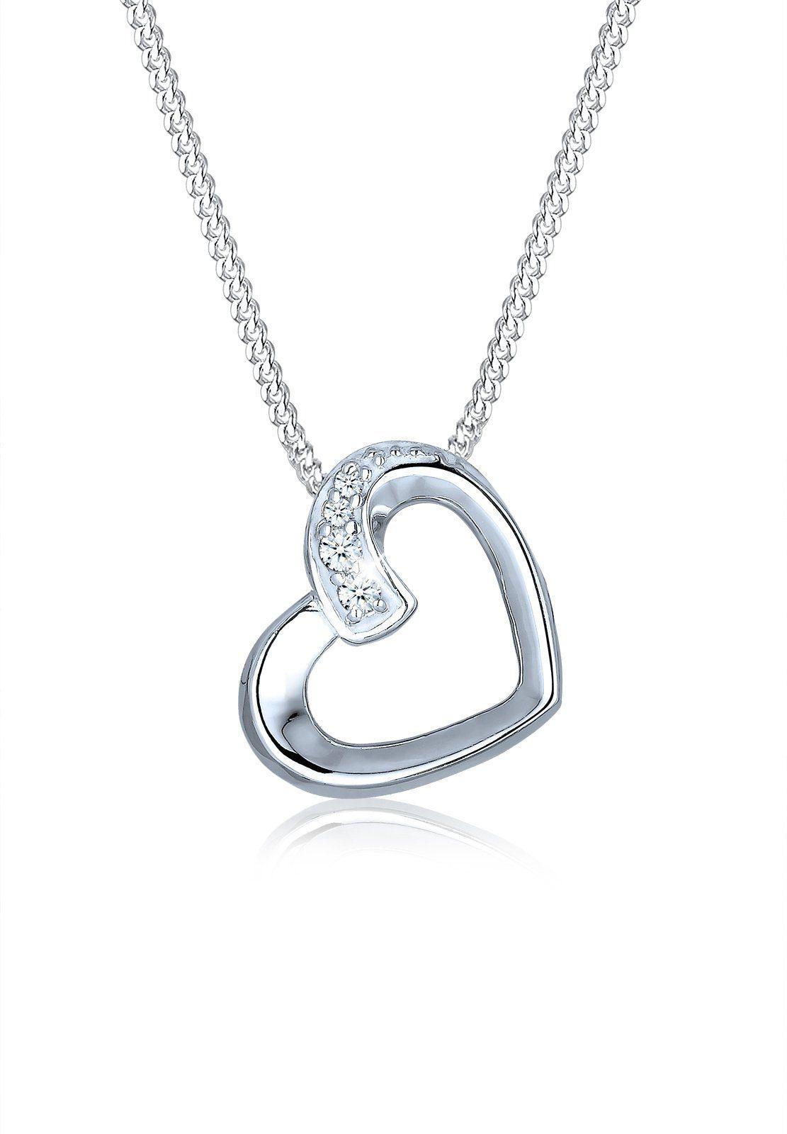 Elli Collierkettchen »Herz Liebe Diamant (0.06 ct) 925 Silber«