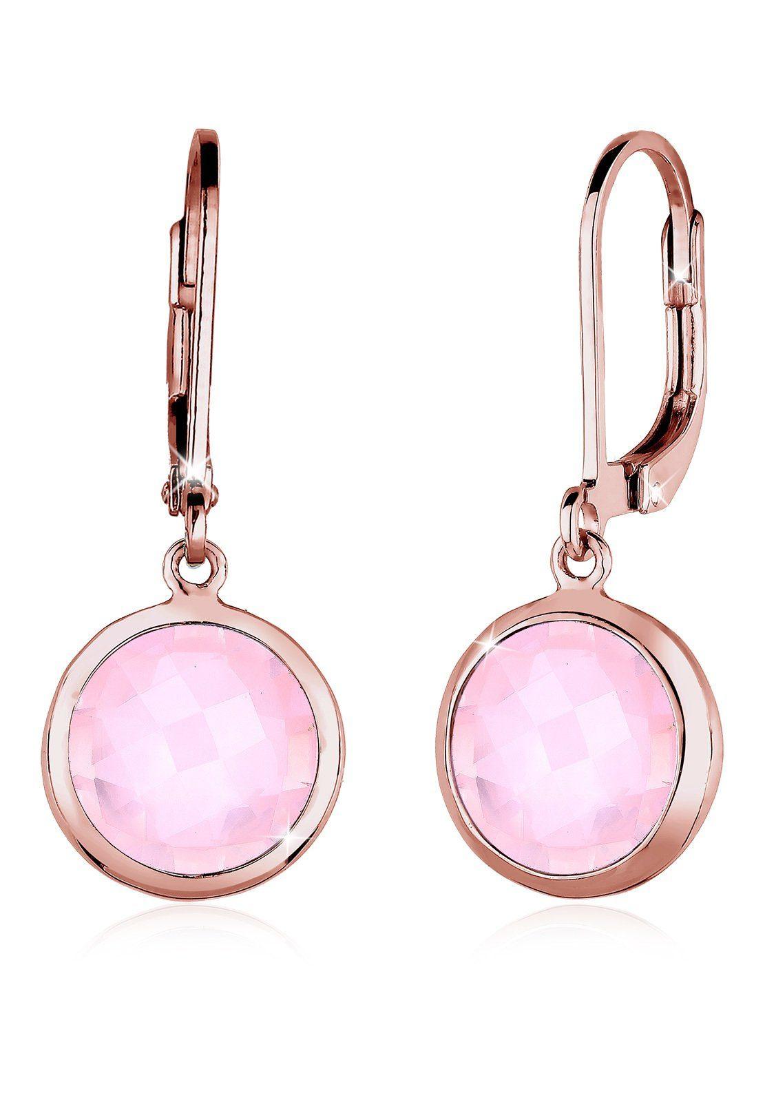 Elli Paar Ohrhänger »Rosenquarz Basic Klassisch Silber rosé vergoldet«