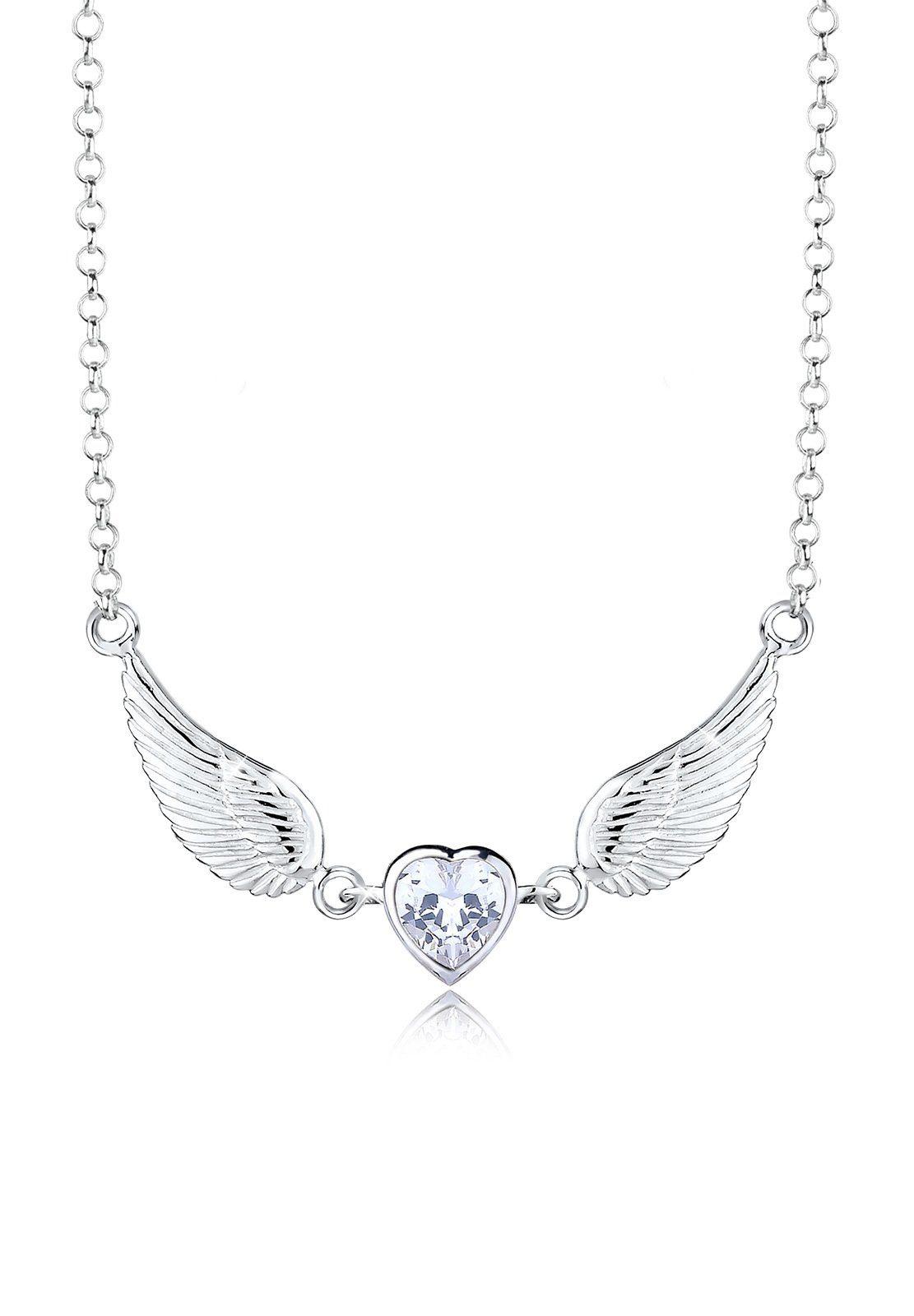 Elli Collierkettchen »Flügel Herz Zirkonia 925 Sterling Silber«