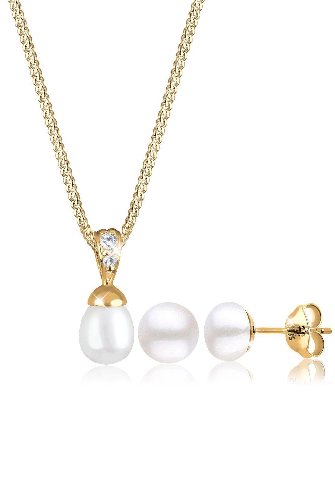 Elli Ohrring und Ketten Set »Set: Perlen Zirkonia 585 Gelbgold« (Set, 2 tlg)