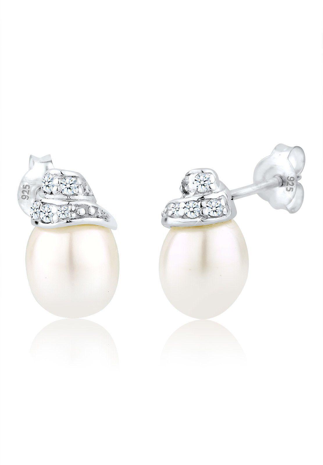 Elli Paar Ohrstecker »Diamant Süßwasserzuchtperle 925 Silber«
