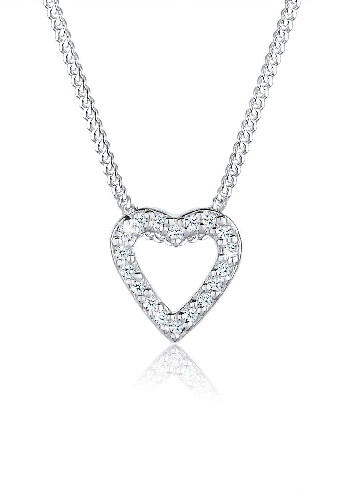 Elli Collierkettchen »Herz Liebe Diamant (0.18 ct) 925 Silber«