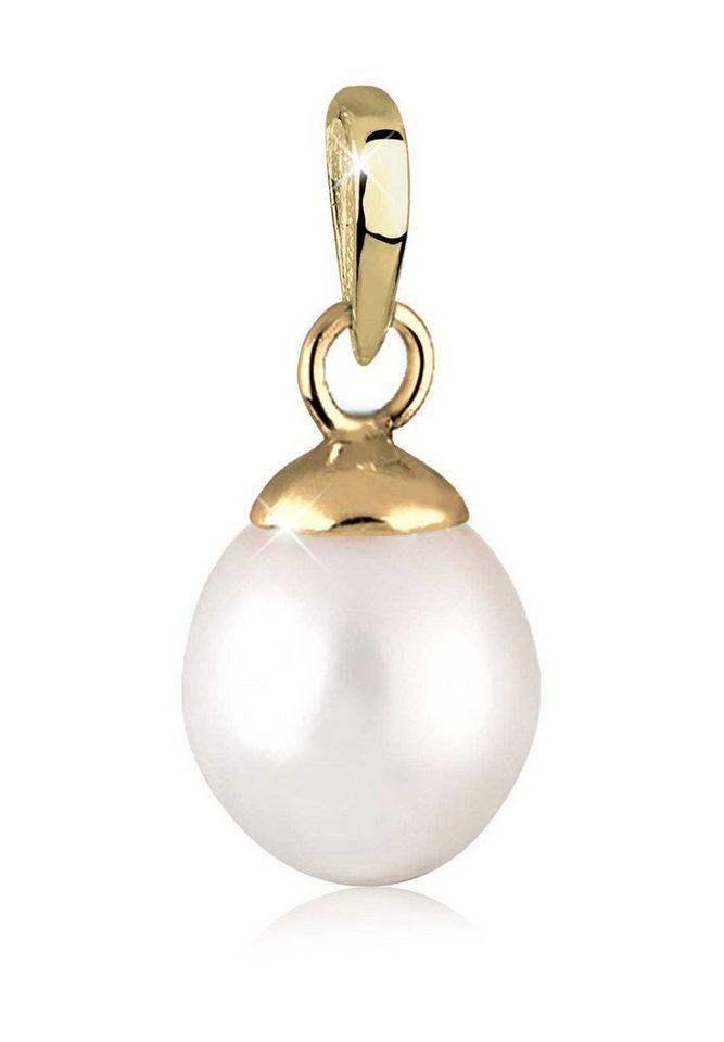 Elli Kettenanhänger »Süßwasserzuchtperle 585 Gelbgold« | Schmuck > Halsketten > Ketten ohne Anhänger | Weiß | Elli