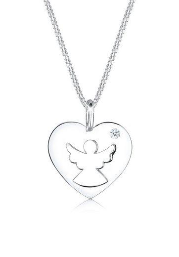Diamore Collierkettchen »Herz Schutzengel Diamant (0.03 ct) Silber«