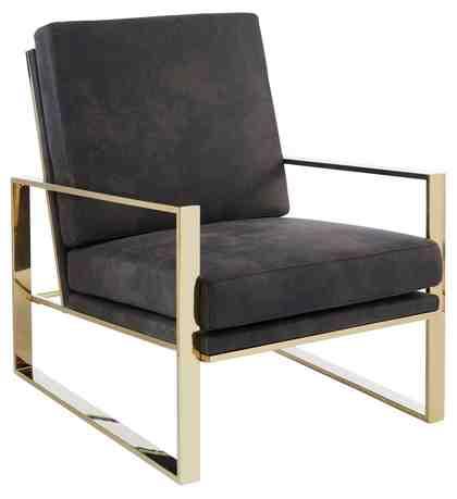 GMK Home & Living Sessel »Melnwai«, mit elegantem, vergoldetem Metallgestell und einem Microfaser Lederoptik Bezug