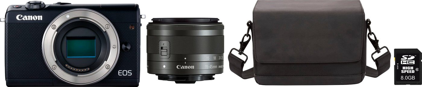 Systemkameras - Canon »EOS M100 15 45mm IS« Systemkamera (Canon EF M 15 45mm 1 3,5 6,3 IS STM, 24,2 MP, Bluetooth, WLAN (Wi Fi), NFC, Tasche CB SB100 8GB SD Class 10 10 € FGS)  - Onlineshop OTTO