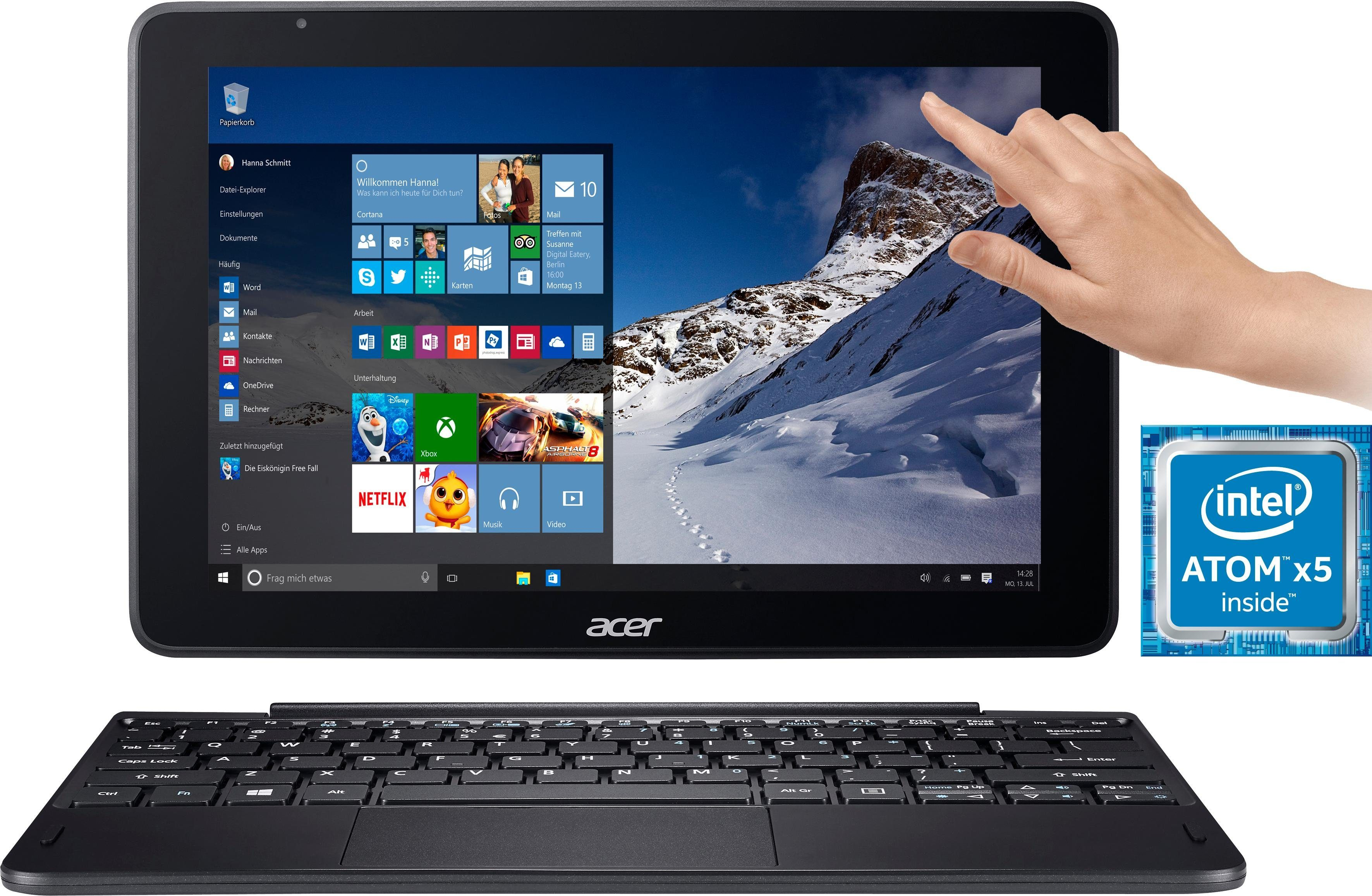Acer One 10 (S1003-11QC) Convertible Notebook (25,65 cm/10,1 Zoll, Intel Atom, HD Graphics, inkl. Office 365 Personal (ESD)