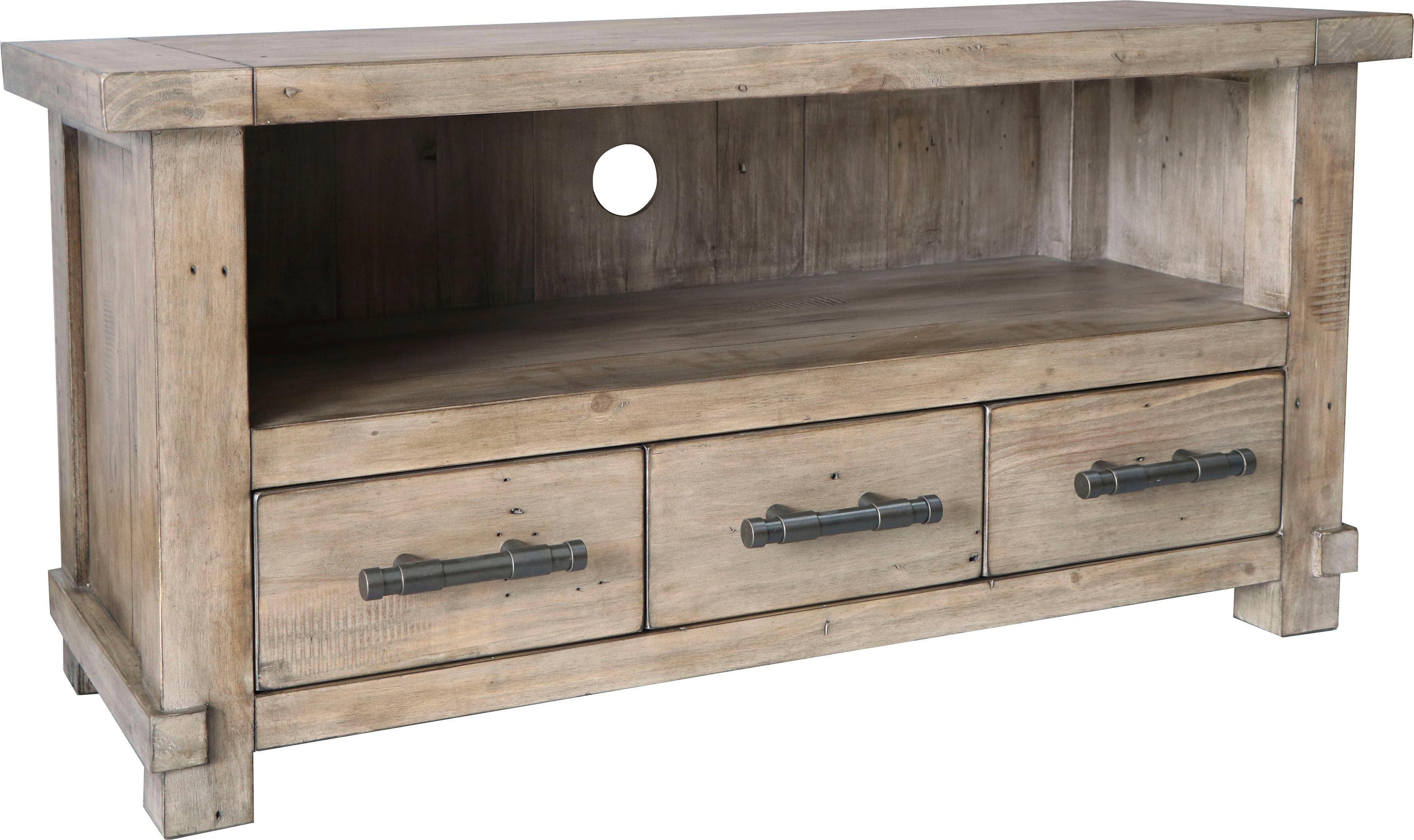 The Wood Times TV Board »Industrial« aus massivem Pinienholz, Breite 120 cm