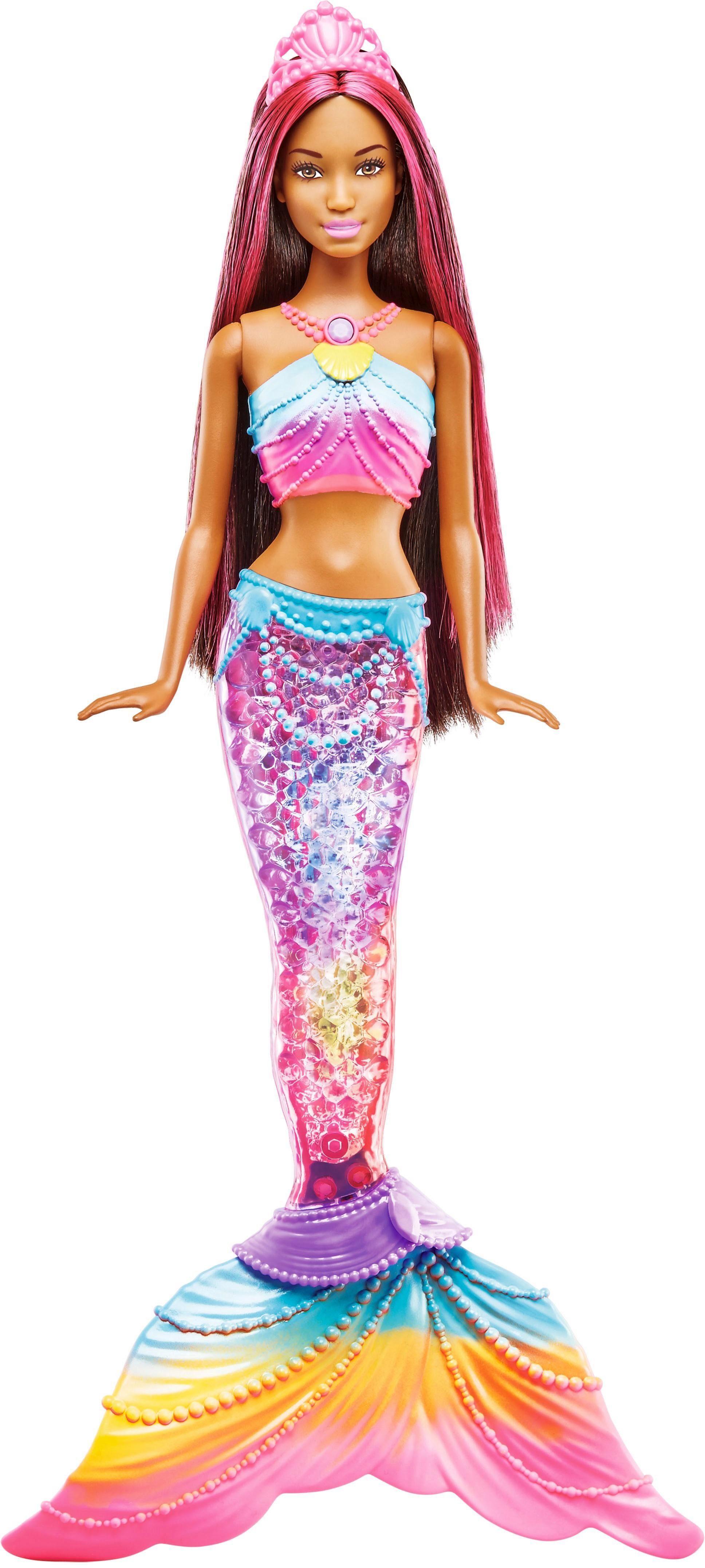 Mattel Puppe, »Barbie Dreamtopia Regenbogenlicht-Meerjungfrau Puppe brünett«