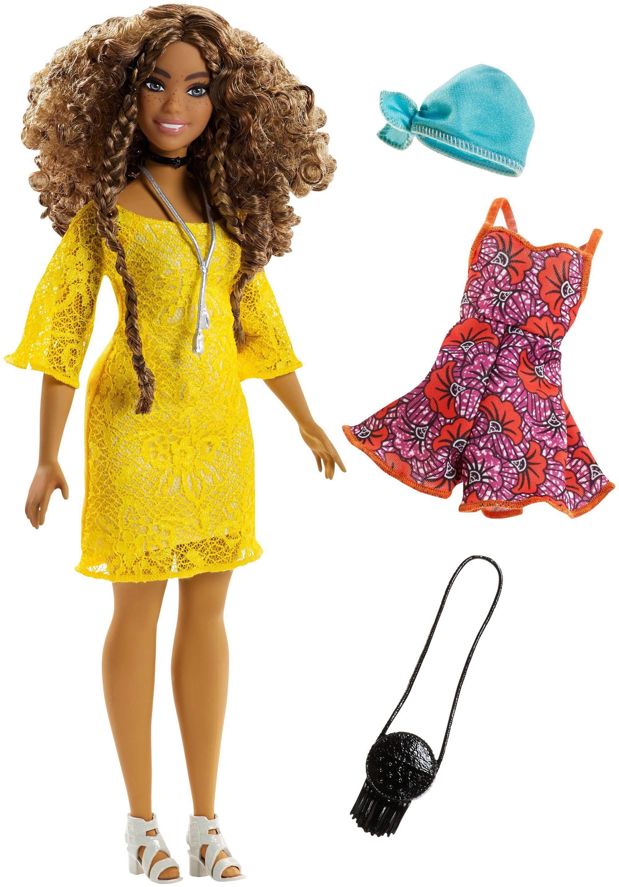 Mattel Puppe, »Barbie Fashionistas Puppe und Mode im gelben Spitzenkleid«
