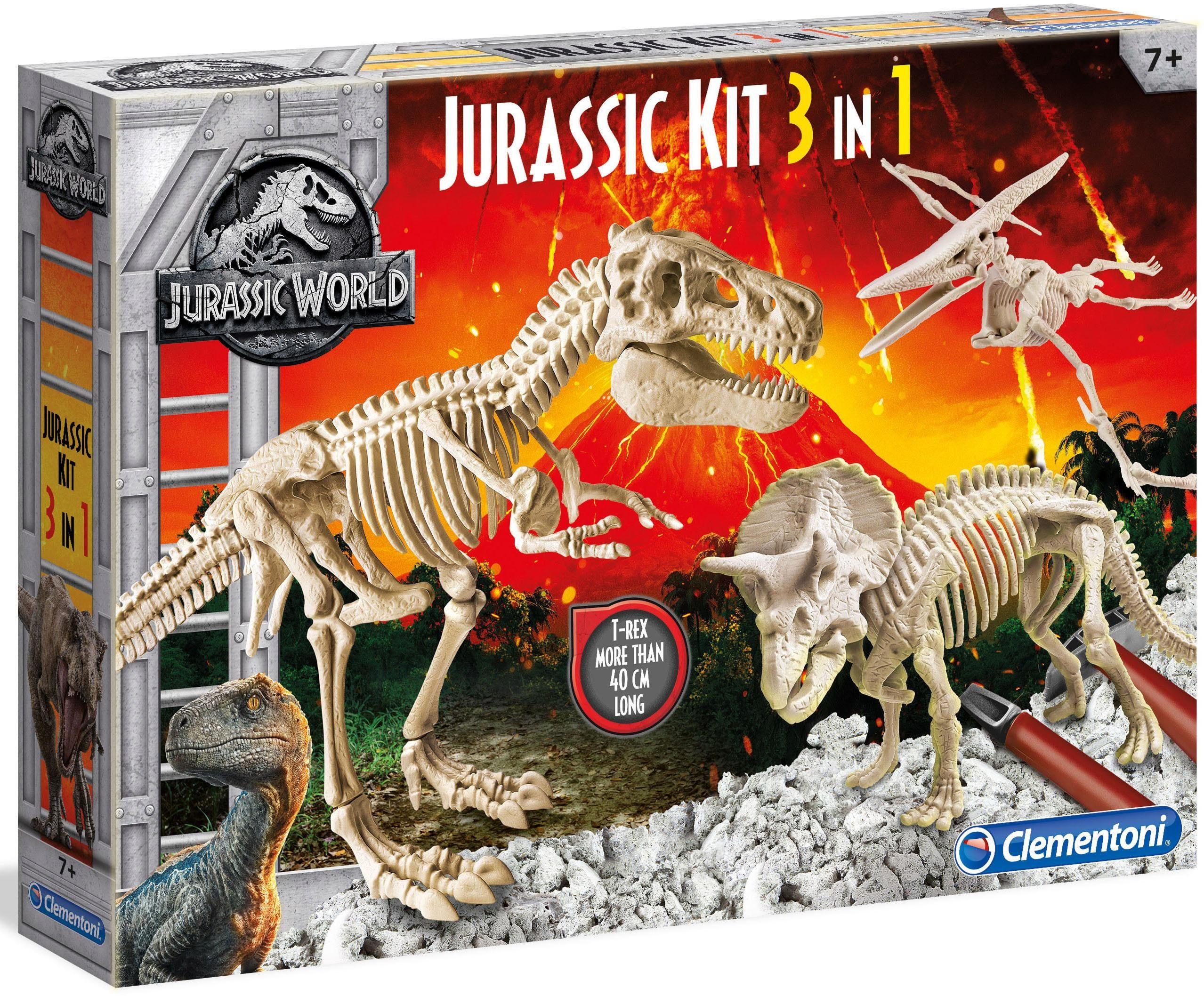 Clementoni 3-in-1 Experimentierset, »Jurassic World, Ausgrabungsset T-Rex+Pteranodon+Triceratops«