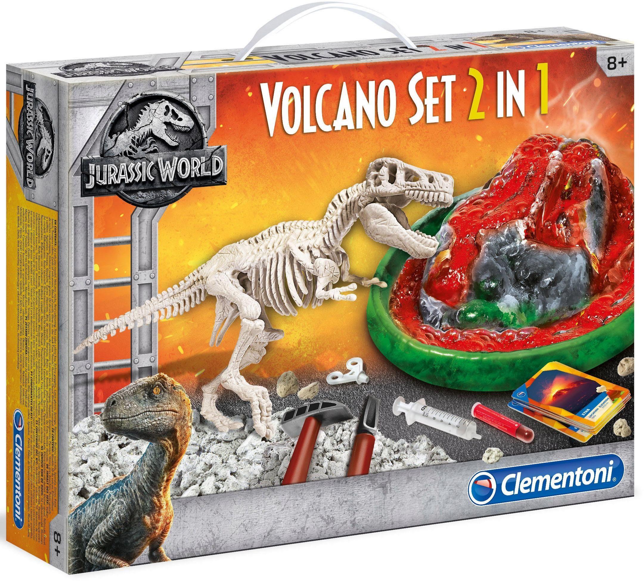Clementoni 2-in-1 Experimentierset , »Jurassic World, Vulkanausbruch + Ausgrabungsset T-Rex«