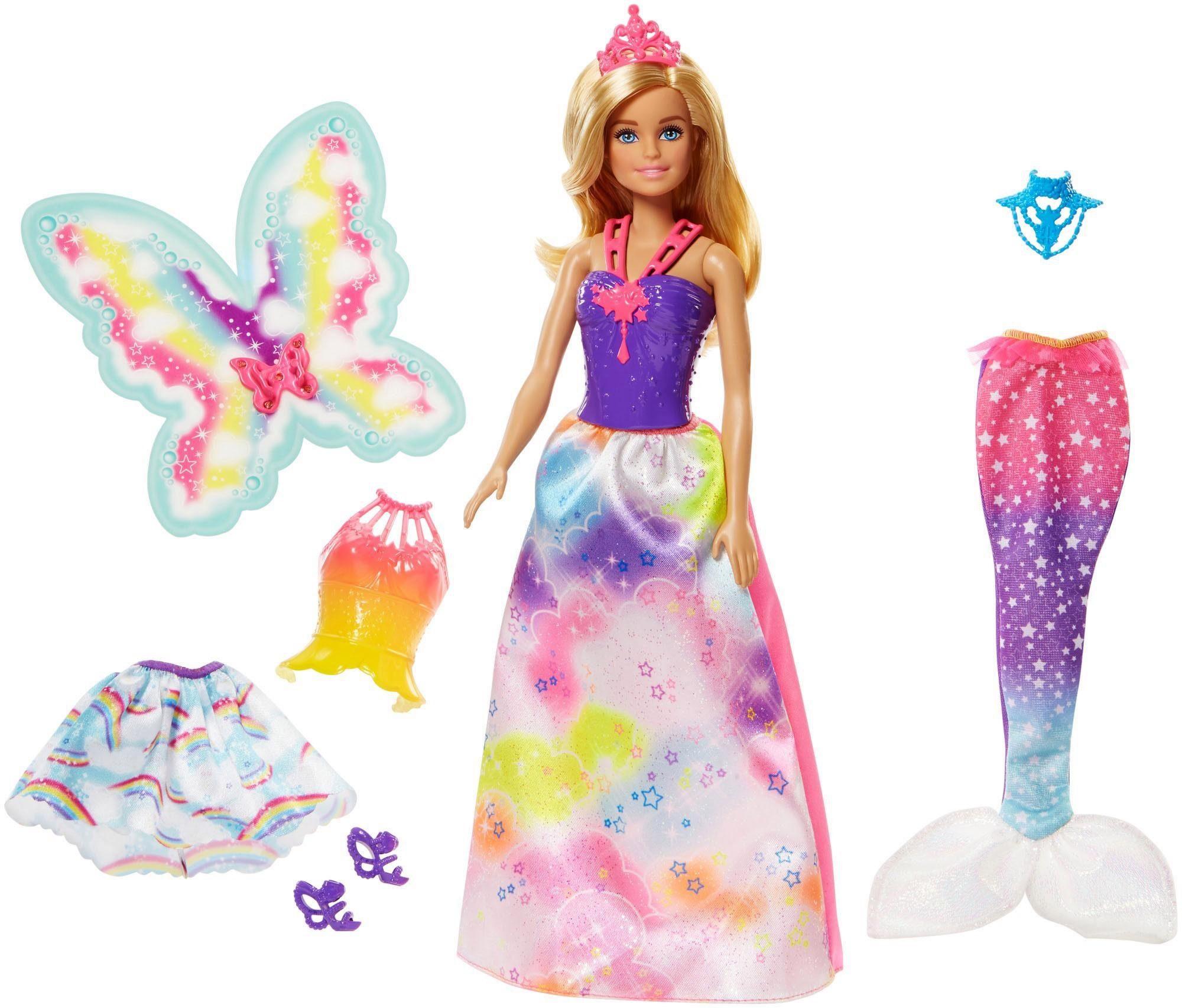 Mattel Puppe mit Spielset, »Barbie Dreamtopia Regenbogen-Königreich 3-in-1 Fantasie Geschenkset«