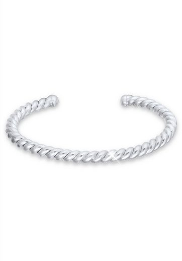 Kuzzoi Armband »Basic Bangle Gedreht Matt 925 Sterling Silber«