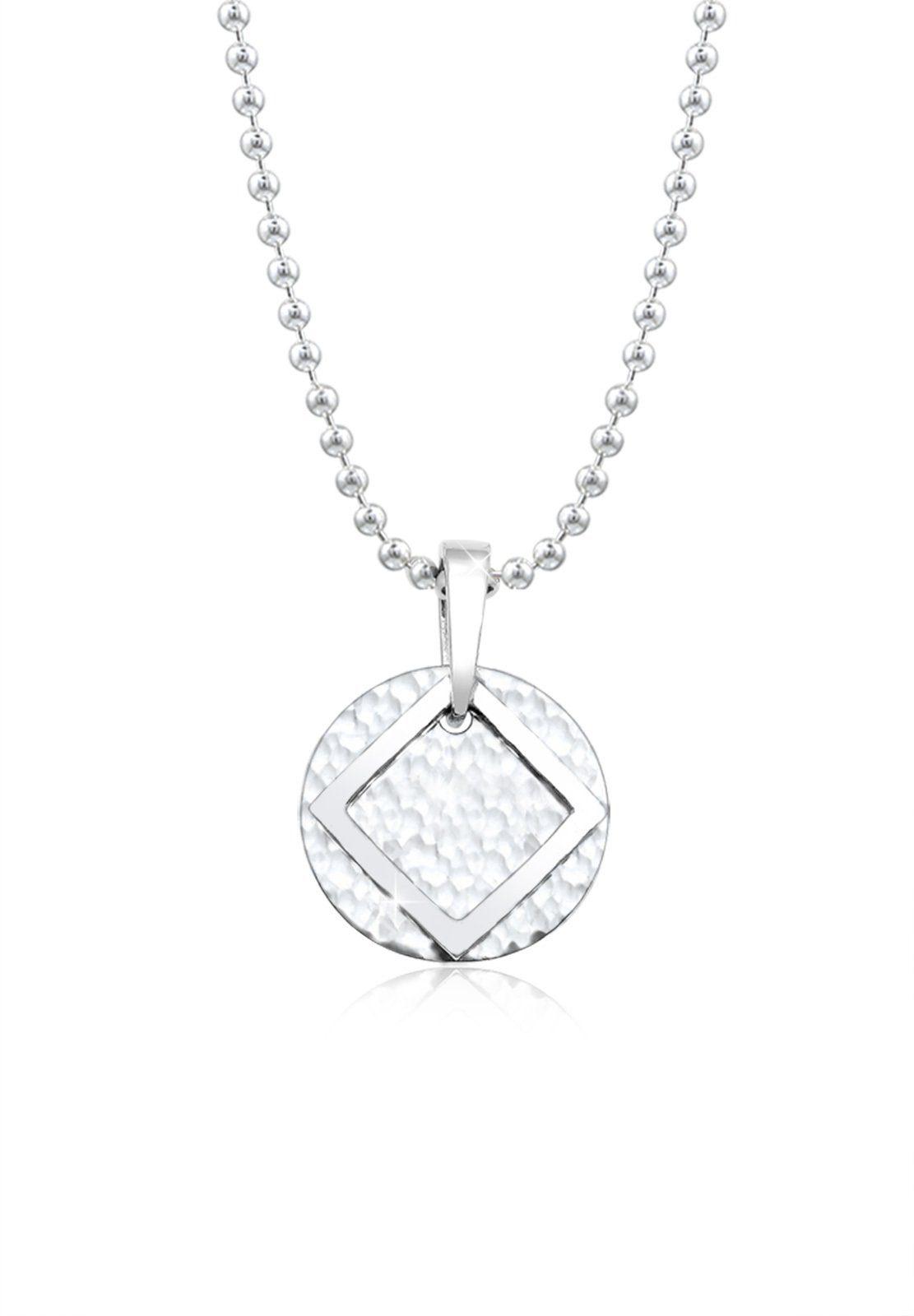 Paulo Fanello Silberkette »Kreis Viereck gehämmert matt 925 Sterling Silber«