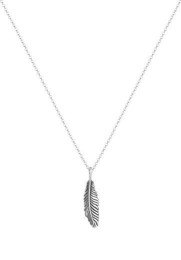 Kuzzoi Silberkette »Feder Vogel Oxid 925 Sterling Silber«