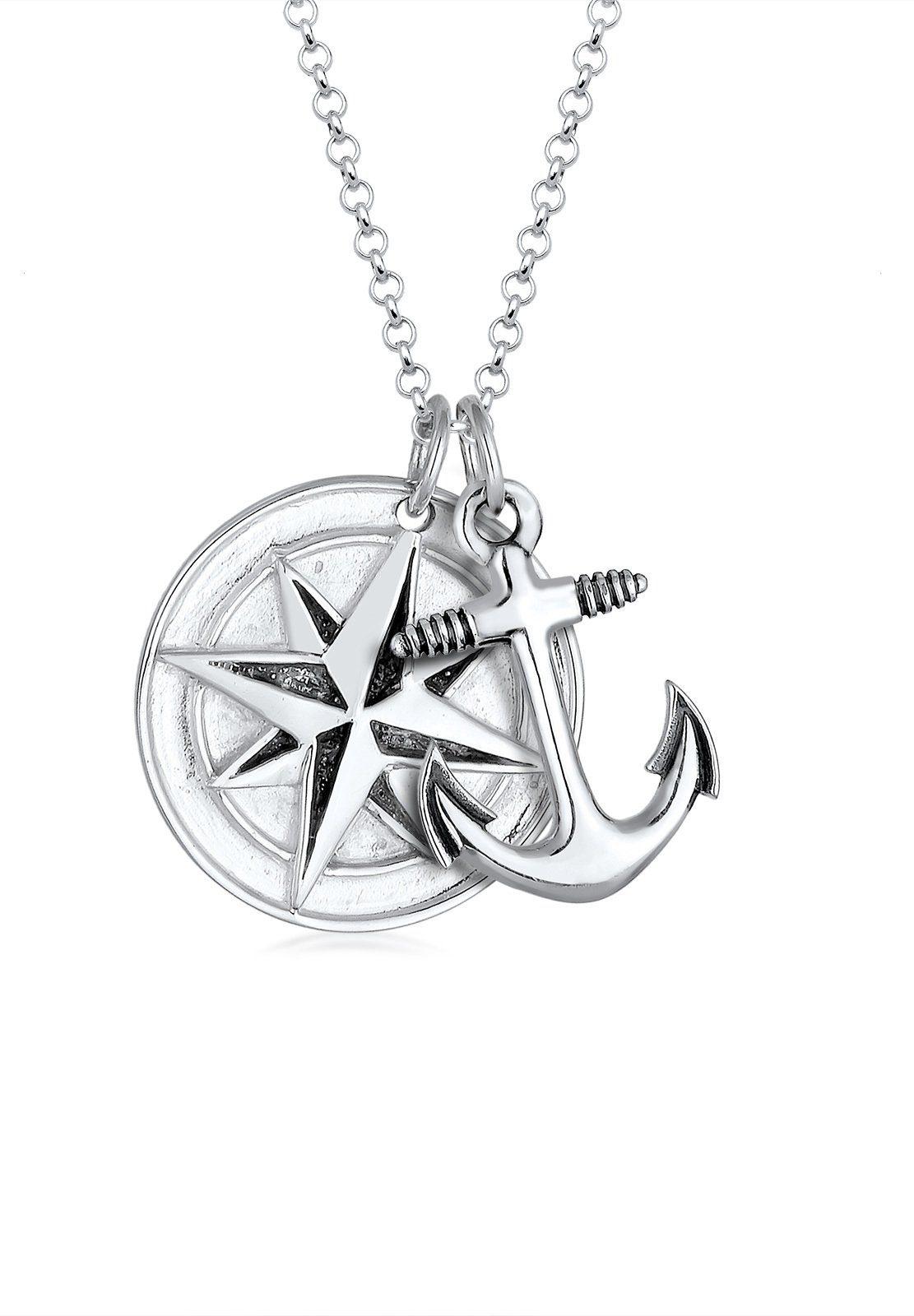 Paulo Fanello Collierkettchen »Kompass Anker Medaillon 925 Sterling Silber«