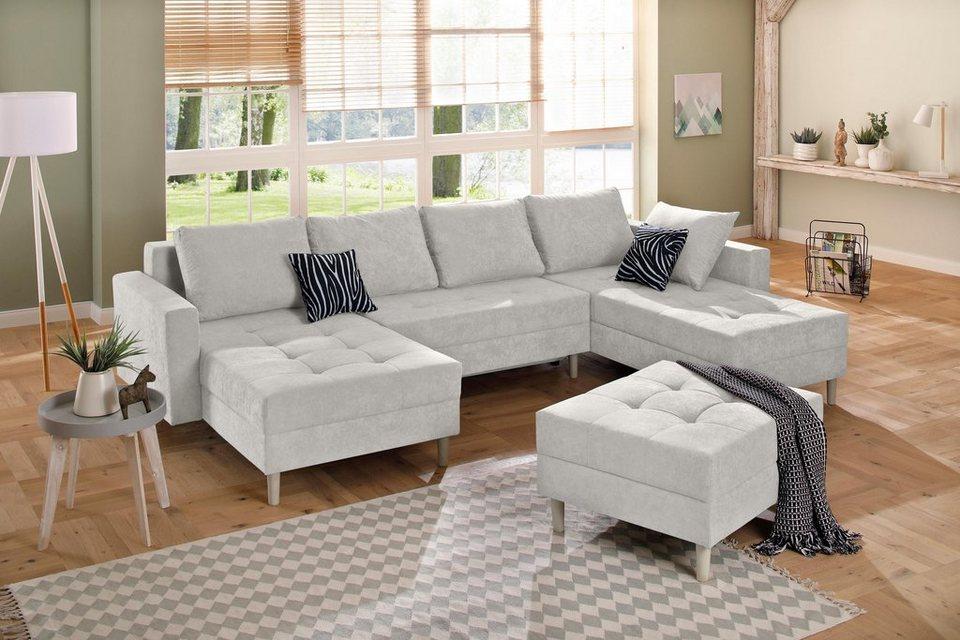 home affaire wohnlandschaft fabula mit federkern ottomane auf beiden seiten online kaufen otto. Black Bedroom Furniture Sets. Home Design Ideas