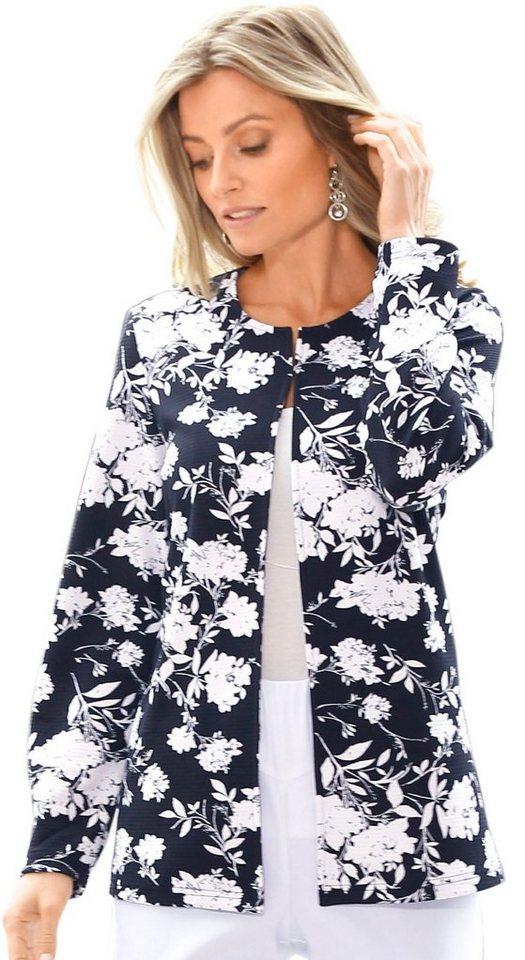 Damen Classic Basics Blazer mit floralem Druck schwarz | 08934958048413