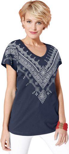 Classic Mit Platziertem Marine Basics bedruckt Druckmuster Shirt weiß f6Iv7ymYbg