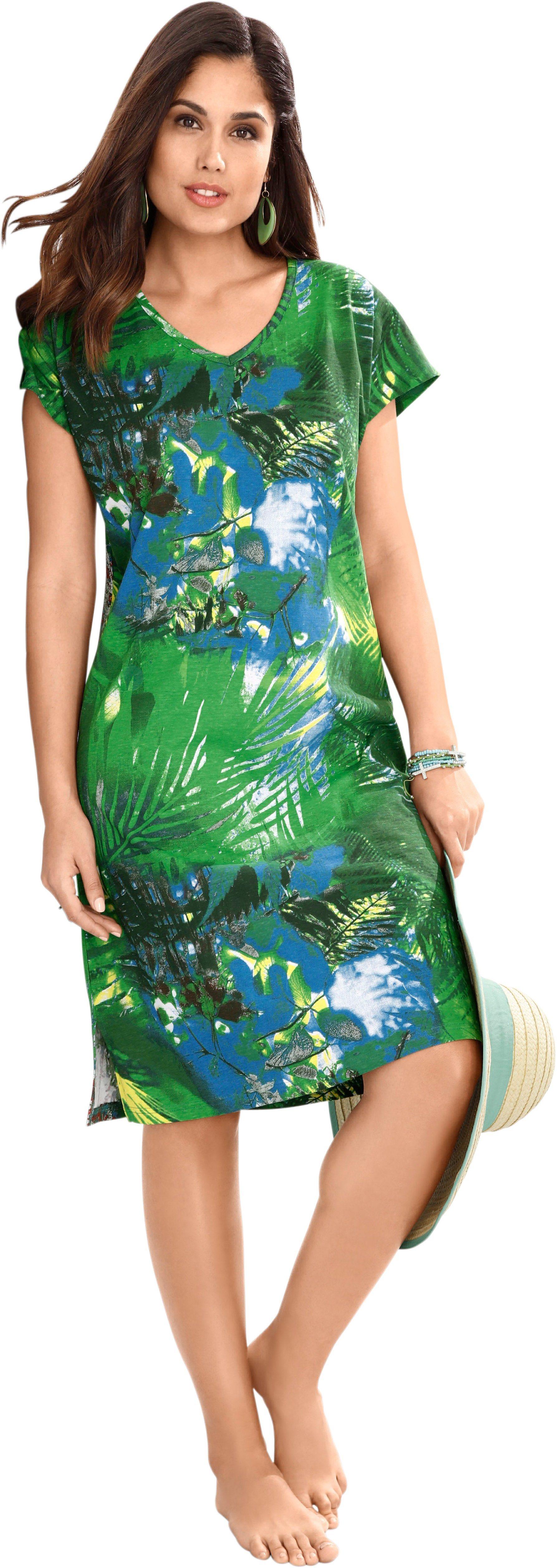 Damen wäschepur Strandkleid mit exotischem Dschungel-Print grün   08903340923393