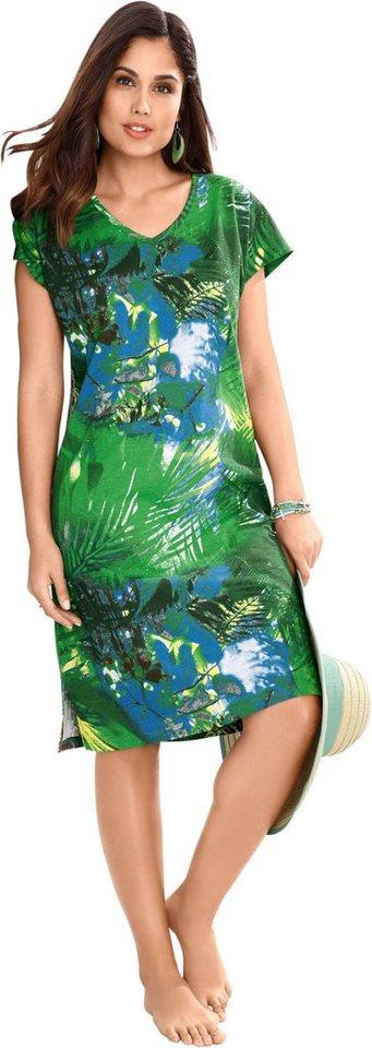 Damen wäschepur Strandkleid mit exotischem Dschungel-Print grün   08903340923386
