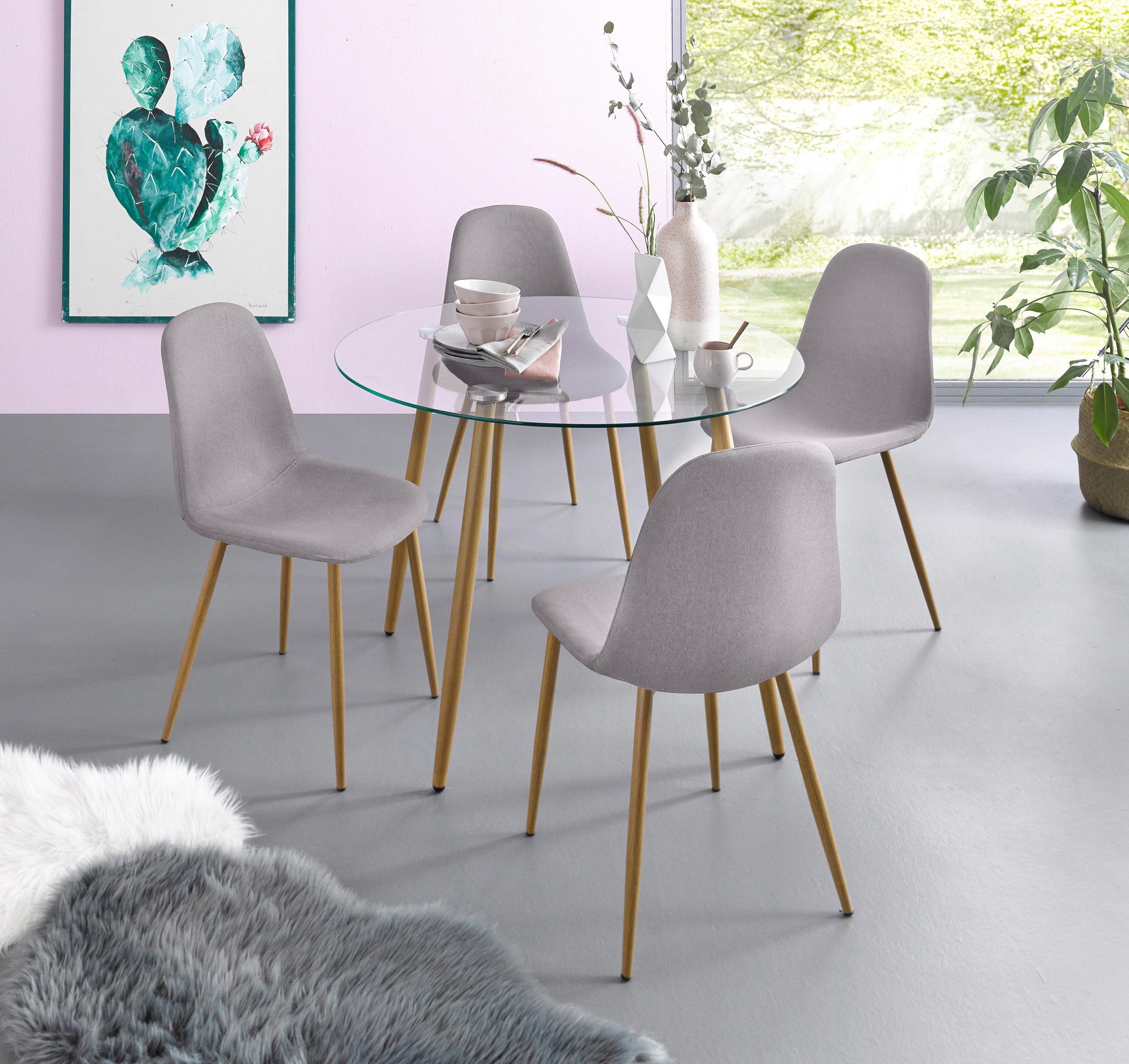Verführerisch Esszimmerstühle Metall Das Beste Von Essgruppe, Runder Glastisch Mit 4 Stühlen (webstoff)