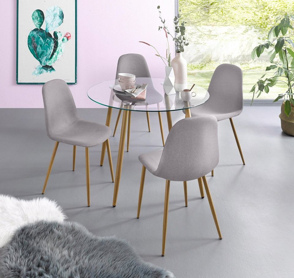 Essgruppe Set 5 Tlg Glastisch Mit 4 Stuhlen Webstoff Online