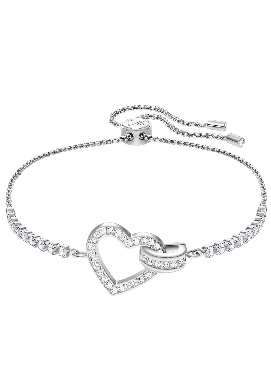 Swarovski Armband »Herz, Lovely Armband, weiss, rhodiniert, 5380704« mit Swarovski® Kristallen