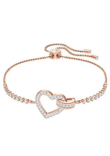 Swarovski Armband »Herz, Lovely, weiss, rosé Vergoldung, 5368541« mit Swarovski® Kristallen