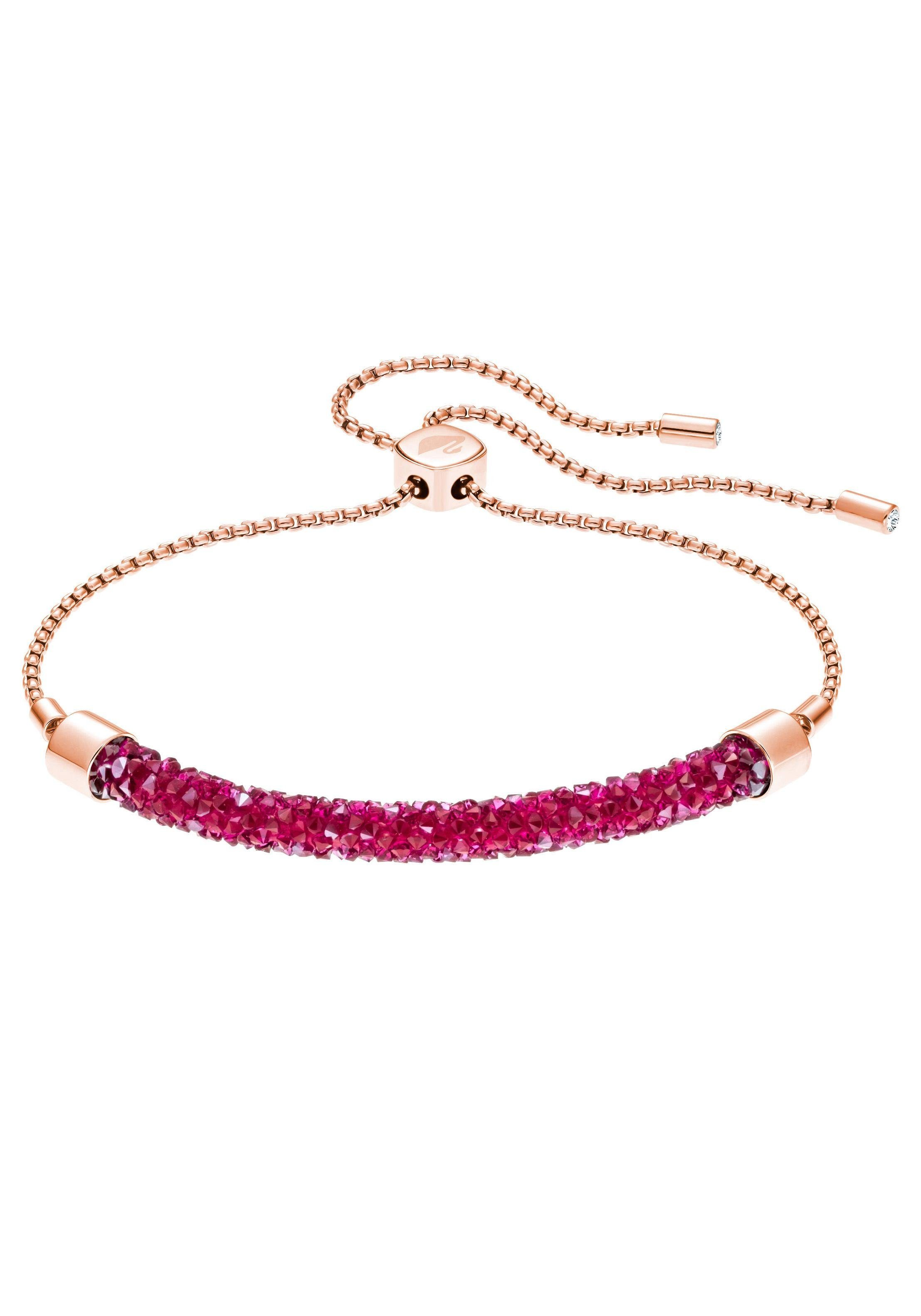 Swarovski Armband »Long Beach Armband, rosa, rosé Vergoldung, 5404434« mit Swarovski® Kristallen