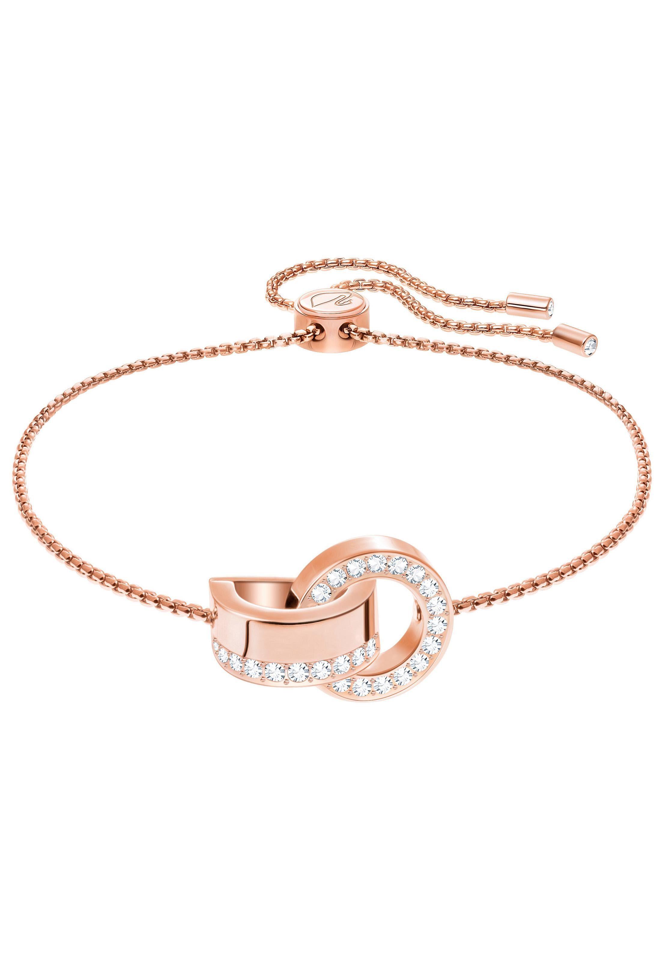 Swarovski Armband »Hollow Armband, weiss, rosé Vergoldung, 5368040« mit Swarovski® Kristallen
