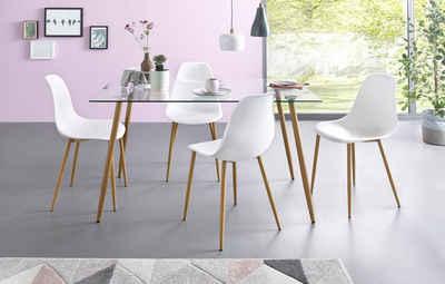 Essgruppe, Eckiger Glastisch Mit 4 Stühlen (Kunststoffschale)