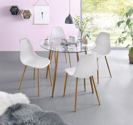Essgruppe, (Set, 5-tlg), Glastisch mit 4 Stühlen (Kunststoffschale)