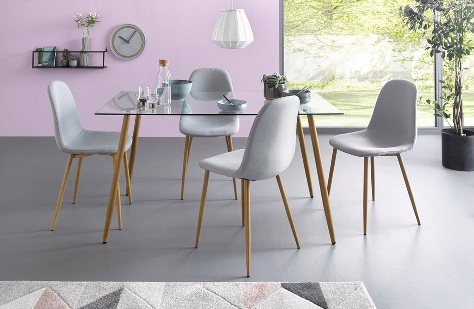 Essgruppe, Eckiger Glastisch Mit 4 Stühlen (Webstoff