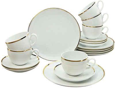Guido Maria Kretschmer Home&Living Kaffeeservice »Golden Line« (18-tlg), Porzellan, handbemalter Goldrand