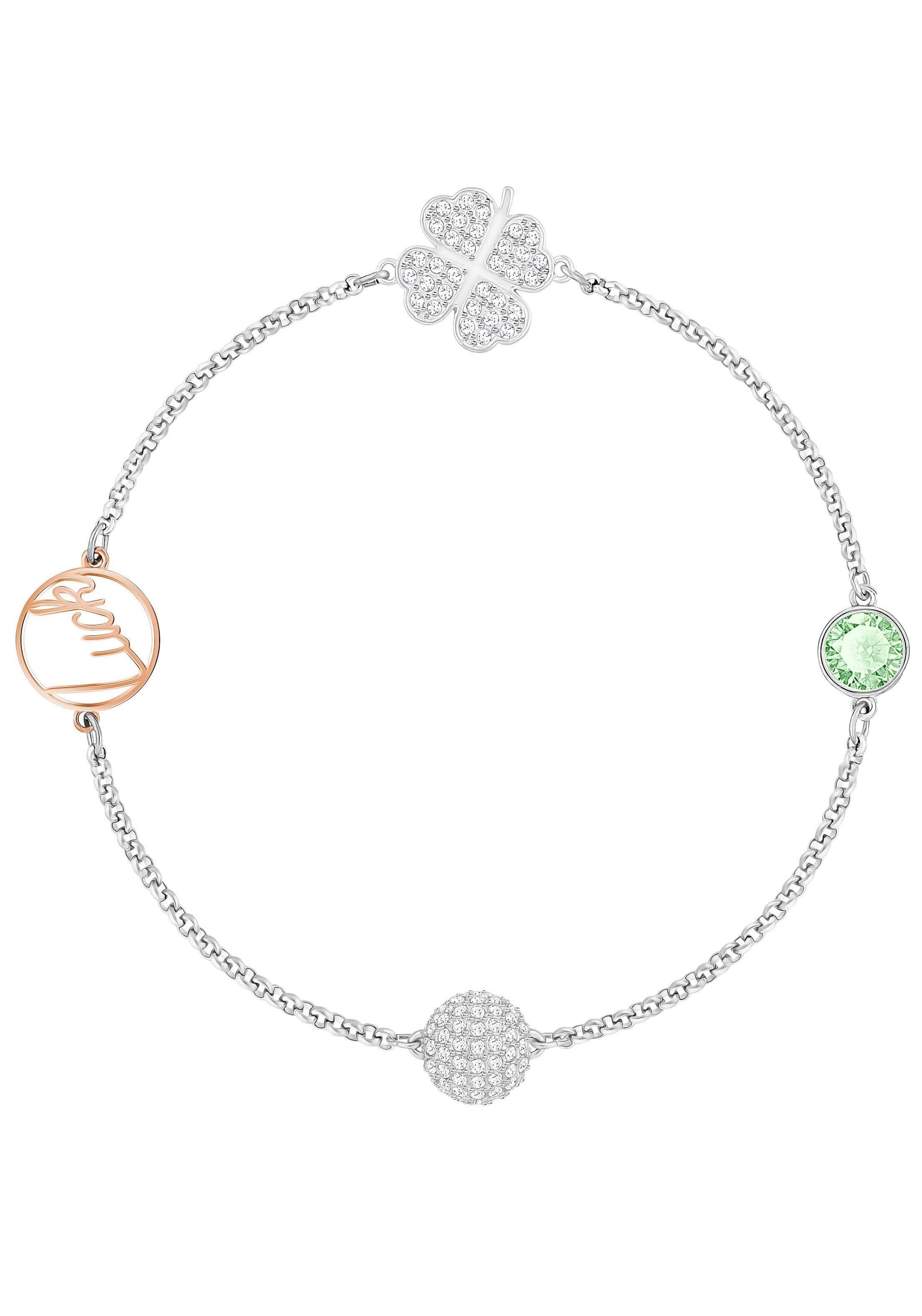 Swarovski Armband »Kleeblatt, Swarovski Remix Collection Clover, grün, metallmix, 5365755« mit Swarovski® Kristallen