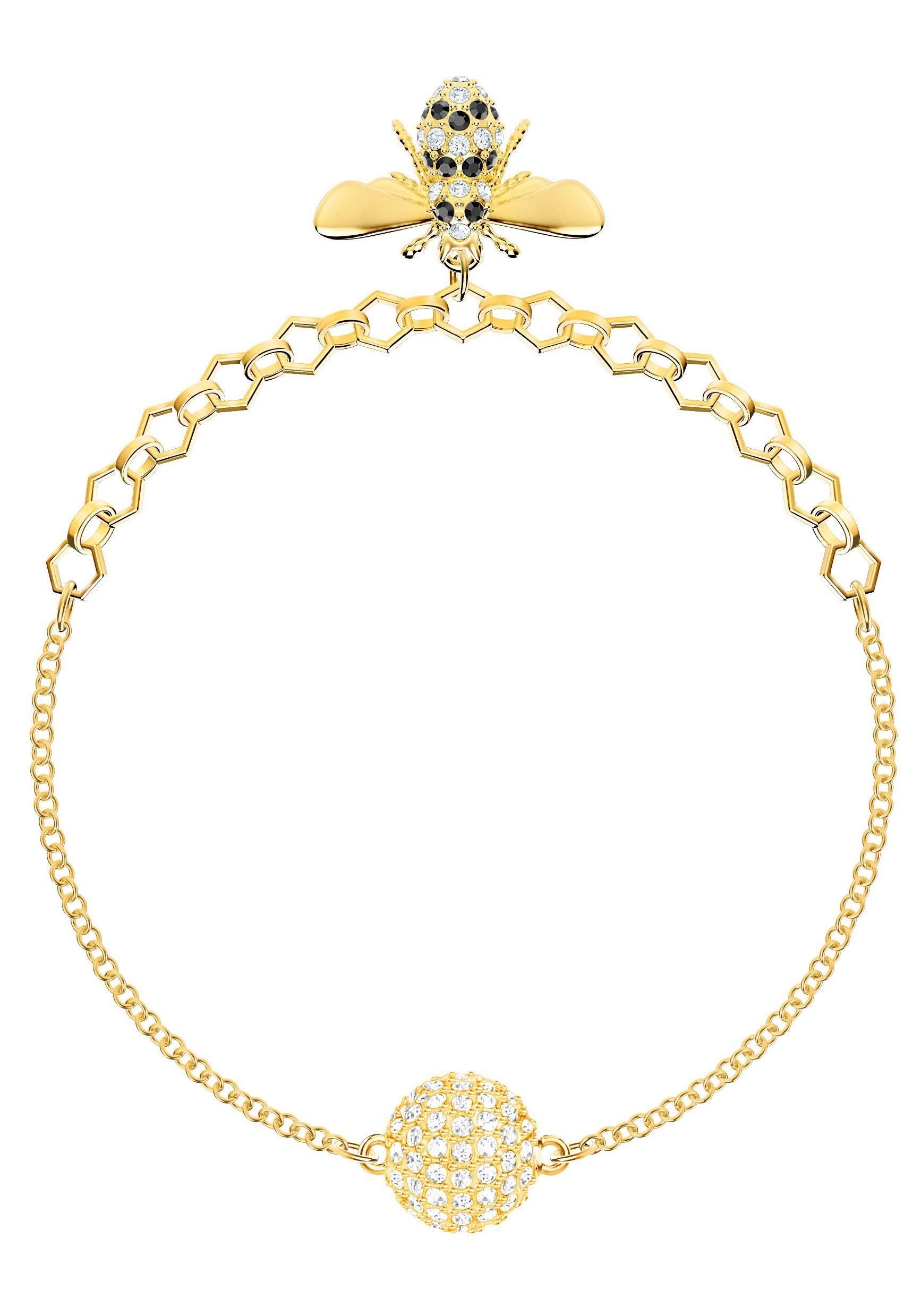 Swarovski Armband »Biene, Swarovski Remix Collection Bee, schwarz, vergoldet, 5380077« mit Swarovski® Kristallen