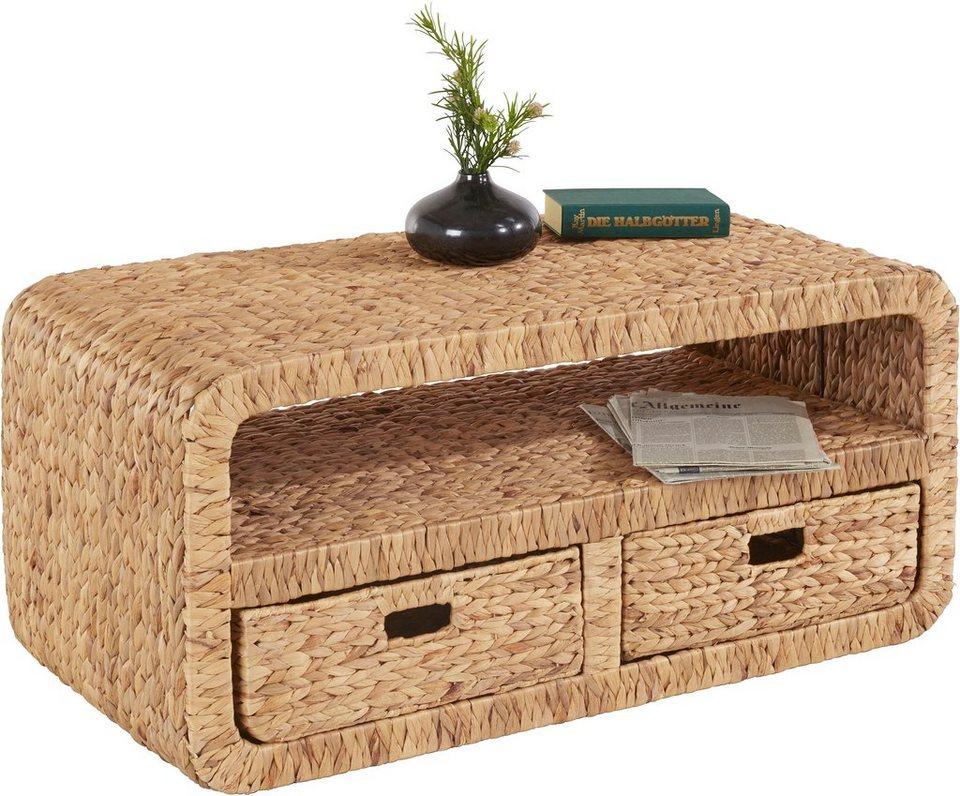 home affaire couchtisch mit 2 schubk sten aus wasserhyazinthe online kaufen otto. Black Bedroom Furniture Sets. Home Design Ideas